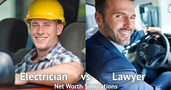 Being a Lawyer vs Being an Electrician: Net Worth Simulations