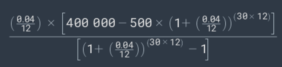 savings goal equation example