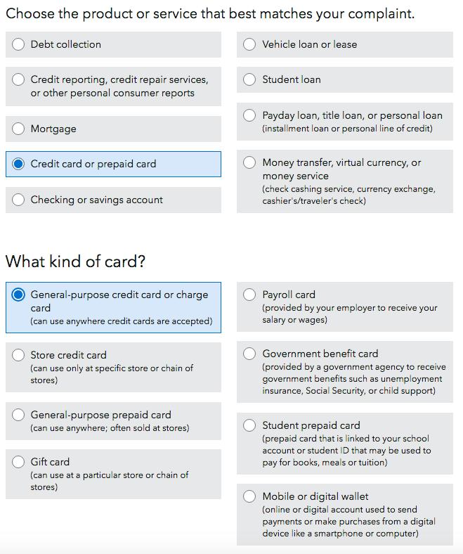Consumer Financial Protection Bureau Complaint Step 1