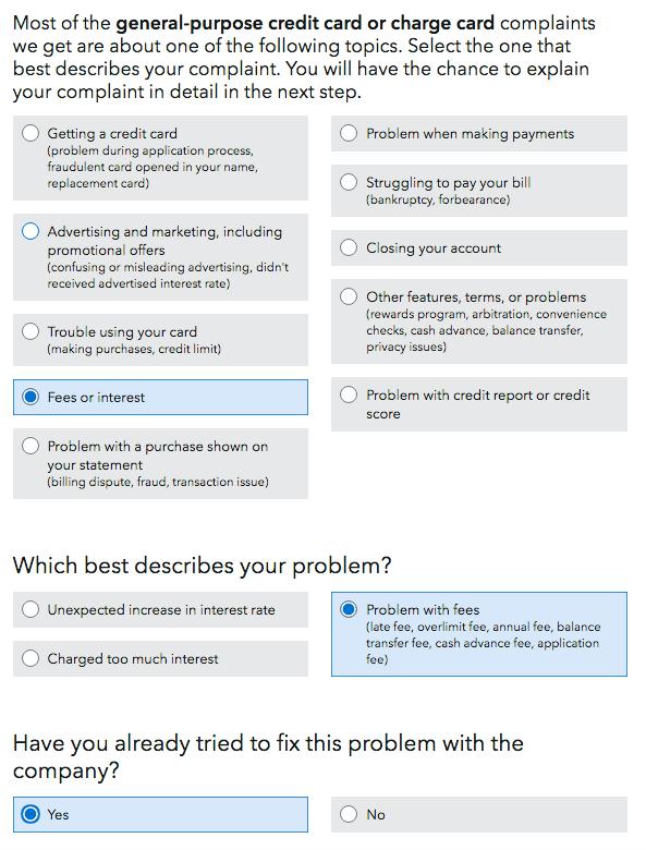 Consumer Financial Protection Bureau Complain Step 2