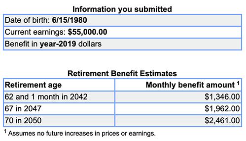 Social Security estimate $55k/year no FSA